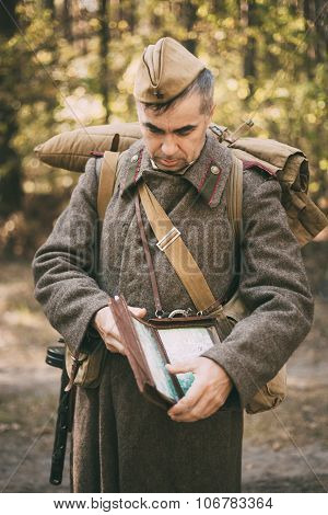 Unidentified re-enactor dressed as Soviet soldier