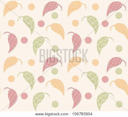 Seamless Pattern With Hand Drawn Leaves With Line Patterns