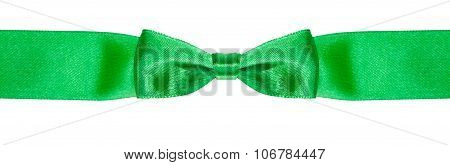 Bow Knot On Narrow Green Satin Ribbon Isolated