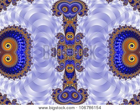 Beautiful Background With Spiral Pattern. Blue And Silver Palette. Artwork For  Design