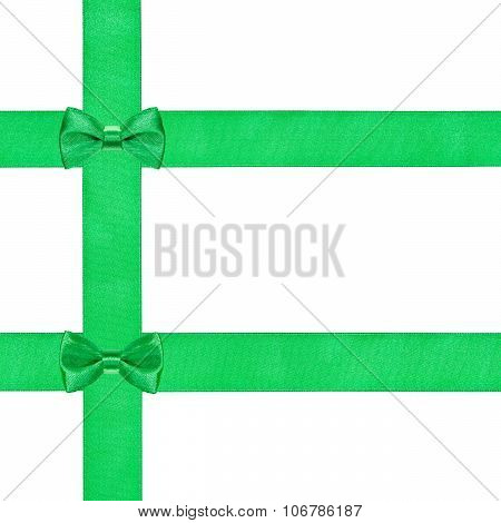 Two Little Green Bow Knots On Three Satin Ribbons