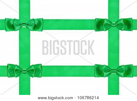 Four Double Green Bow Knots On Four Satin Ribbons