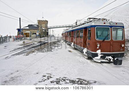 View to the Gornergratbahn railway upper station and the train in Zermatt, Switzerland.