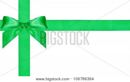 One Big Green Bow Knot On Two Crossing Satin Bands