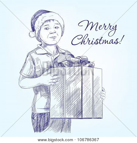 boy in Santa's hat holding her Christmas present hand drawn vector llustration  realistic  sketch
