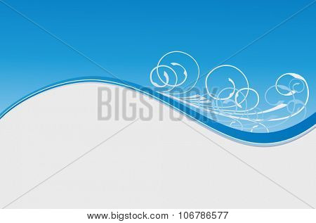 blue wave floral winter abstract background