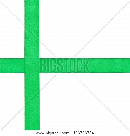 Two Crossing Green Satin Bands Isolated
