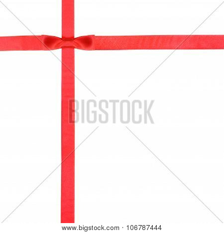 Red Satin Bow Knot And Ribbons On White - Set 11