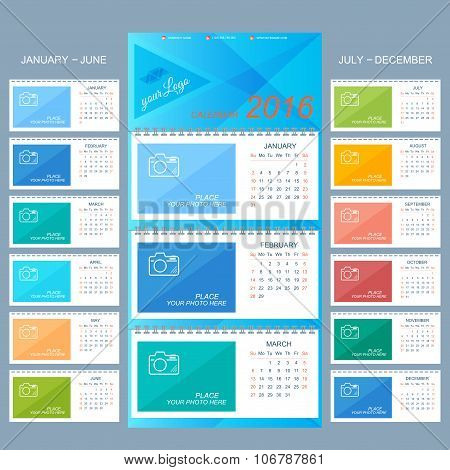 Wall calendar 2016 years . Vector design template  with place for your photo. Set of 12 Months