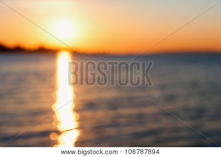 Blurred Sunset Over Lake Balaton, Hungary