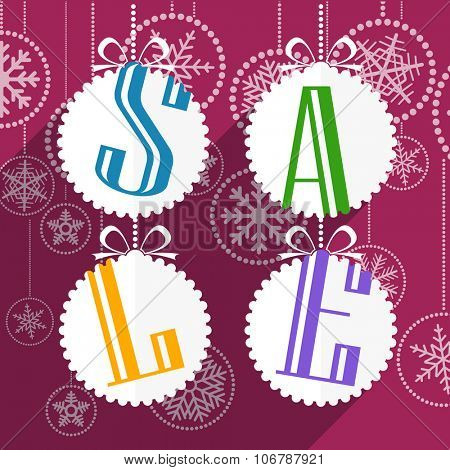Christmas sale card with white christmas bauble and snowflakes. Merry Christmas and Hapy New Year