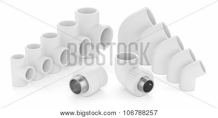 Set Of Plastic Fittings For Water Pipeline Isolated On White Background 3D