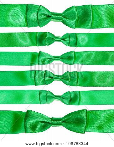 Set Of Real Bow Knots On Green Satin Ribbon