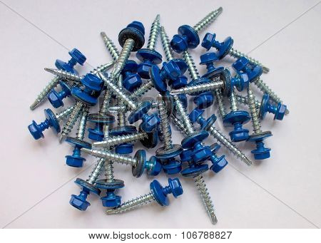 Rubber screws white washer tool head macro equipment fastener roof.