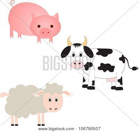 Farm Animal Vectors, Cow Vector, Pig Vector, Sheep Vector