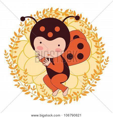 A beautiful ladybug baby card