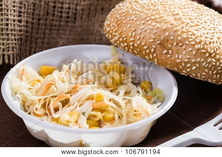 Vegetable Salad And White Bun