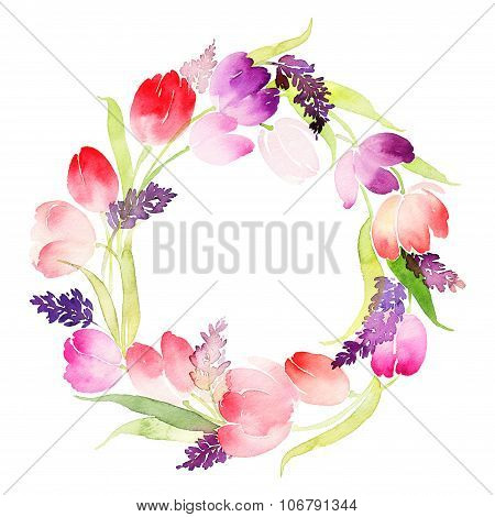 Wreath Of Tulips Watercolor. Wedding, Mother's Day, Birthday, Easter.