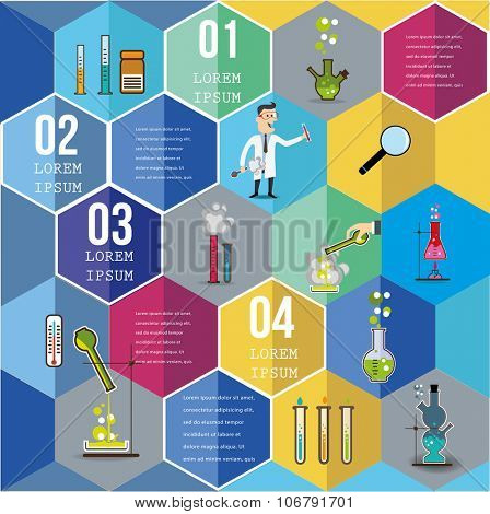 Infographic Elements on Hexagons - Top View on Hexagons with chemistry icons.  Vector illustration.