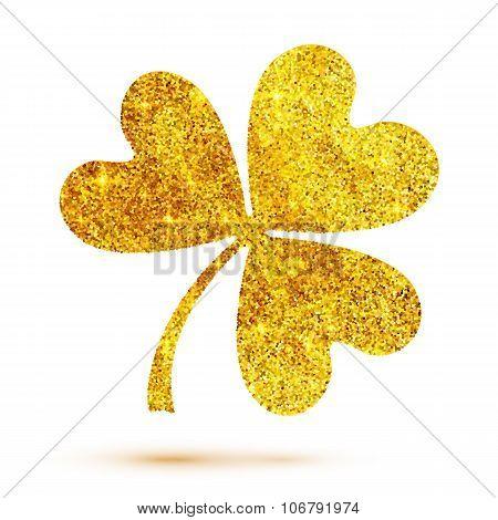 Golden shining glitter glamour clover leaf on white background