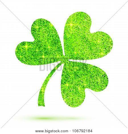 Green shining glitter glamour clover leaf on white background