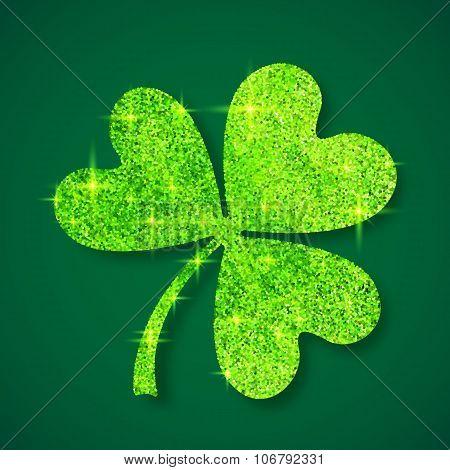 Green shining glitter glamour clover leaf on dark green background