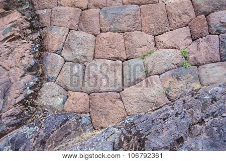 Inca Stone Wall On Bedrock In Pisac, Peru
