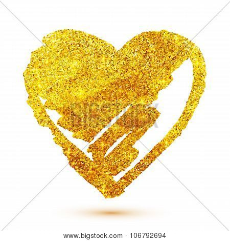 Golden glitter grunge heart isolated on white background
