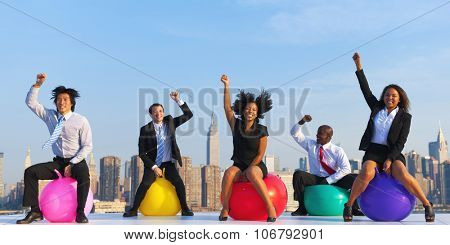 Business People Exercise Fitness Ball Healthy Living Concept