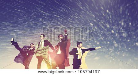 Business Superheros Winter Snow Rescue Concept