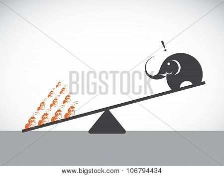 Vector Image Of An Elephant And Ant. Weighing Concept