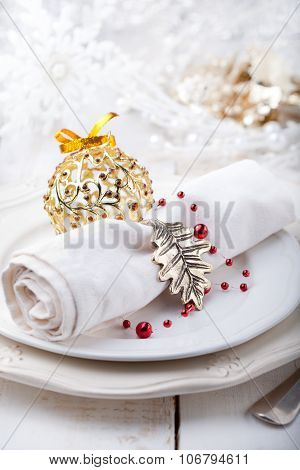 Christmas and New year table place setting with decorations
