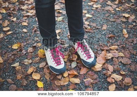 Hiking shoes on autumn trail
