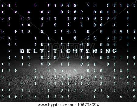 Finance concept: Belt-tightening in grunge dark room