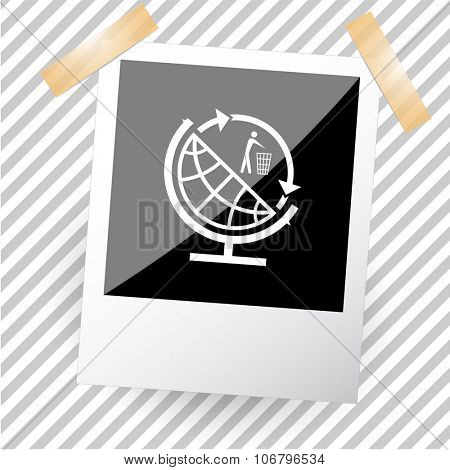 globe and recycling symbol. Photoframe. Vector icon.
