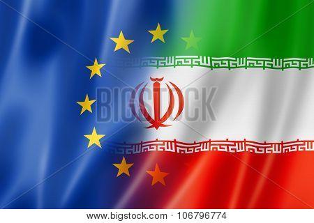 Europe And Iran Flag
