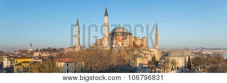 Panoramic Hagia Sophia cathedral at dusk