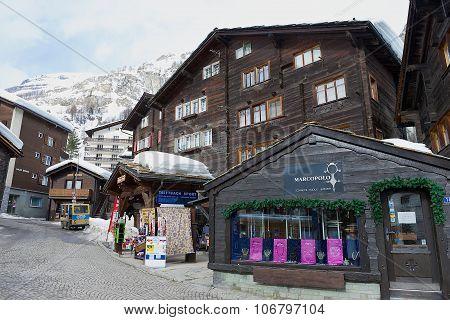 Exterior of the traditional wooden buildings in Zermatt, Switzerland.