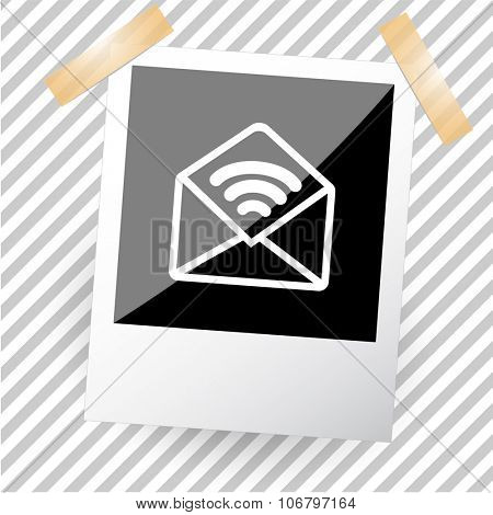 open sound mail. Photoframe. Vector icon.