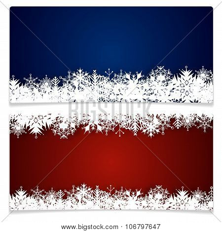 Two Christmas Cards With Snowflakes And Place For Text