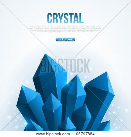 Blue abstract shining ice crystals background.