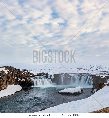 Godafoss Falls In Cloudy Day, Iceland