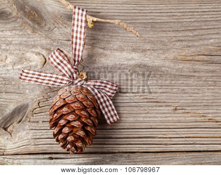 Cedar Cones With Branch On Wood Background, With Free Space For Your Text