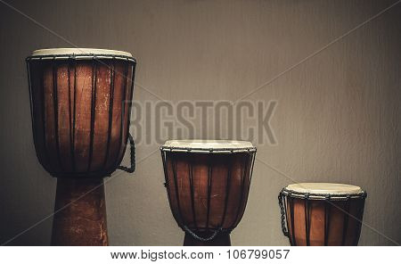 Three Wooden Djembes