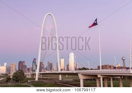 Dallas Downtown Skyline With Margaret Hut Hills Bridge In The Evening, Texas