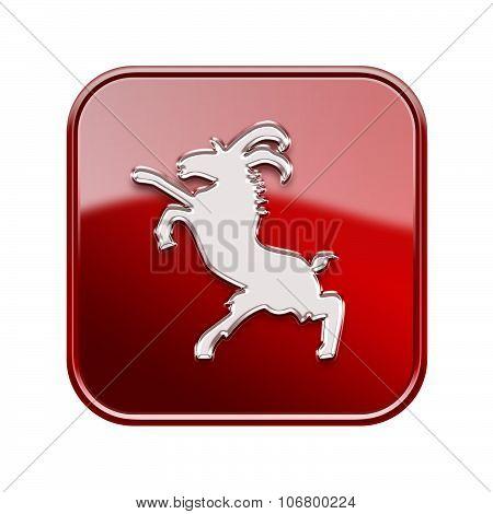 Goat Zodiac Icon Red, Isolated On White Background.
