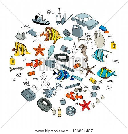 Water pollution in the ocean. Garbage and waste. Eco concept.