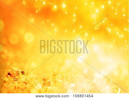 Abstract holiday gold background with stars shapes and lights rounds