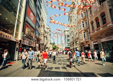Crowd Of People Walking On Busy Istiklal Street At Sunny Morning
