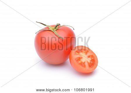 Tomato Close-up. Isolated On White Background